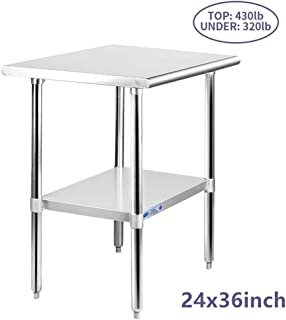 Stainless Steel Table for Prep & Work 24 x 36 Inches, NSF Commercial Heavy Duty Table with Undershelf and Galvanized Legs for Restaurant, Home and Hotel