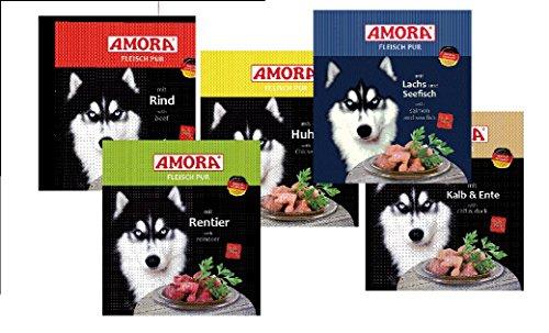 Amora 30 x 800g Fleisch Pur (6 x Gans, 6 x Lachs&Seefisch, 6 x Kopffleisch, 6 x Pute, 6 x Rind)