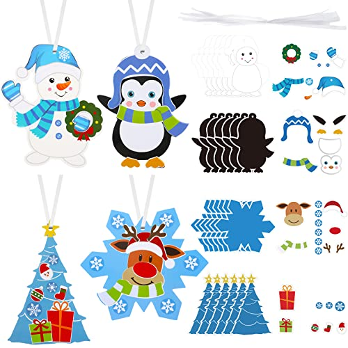 24 Sets Hanging Snowman Ornaments Snowflakes Christmas Craft Kits Christmas Tree Ornaments Art and Craft DIY Handcraft for Kids Winter Frozen Party Supplies Favors, 4 Styles Hanukkah Ornaments