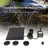 MXECO Fashion Square Shape Panel Solar Kit de Bomba de Agua Fuente Pool Garden Pond Sumergible Watering Bird Bath Tank Set (Negro)