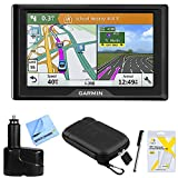 Garmin Drive 51 LM GPS Navigator (010-01678-0B) USA with Driver Alerts w/Accessories Bundle Includes, Dual 12V Car Charger for GPS, Screen Protectors, Protect & Stow Case Mini + More