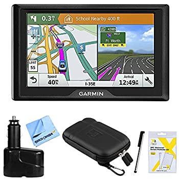 Garmin Drive 51 LM GPS Navigator  010-01678-0B  USA with Driver Alerts w/Accessories Bundle Includes Dual 12V Car Charger for GPS Screen Protectors Protect & Stow Case Mini + More