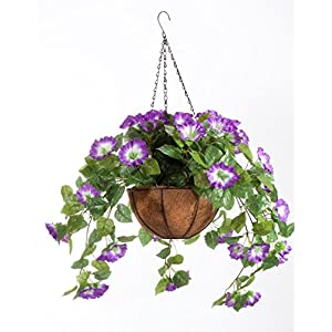 """OakRidge Miles Kimball Fully Assembled Artificial Petunia Flower Hanging Basket, 10"""" Diameter and 18"""" Chain – Polyester/Plastic Flowers in Metal and Coco Fiber Liner Basket for Indoor/Outdoor Use"""