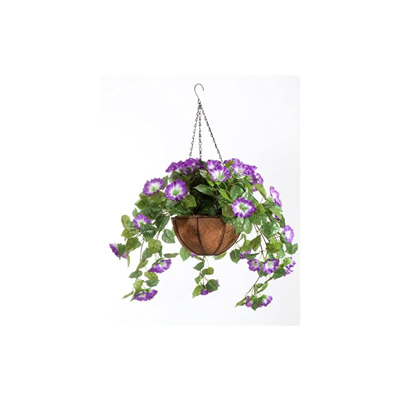 """silk flower arrangements oakridge miles kimball fully assembled artificial petunia flower hanging basket, 10"""" diameter and 18"""" chain – polyester/plastic flowers in metal and coco fiber liner basket for indoor/outdoor use"""