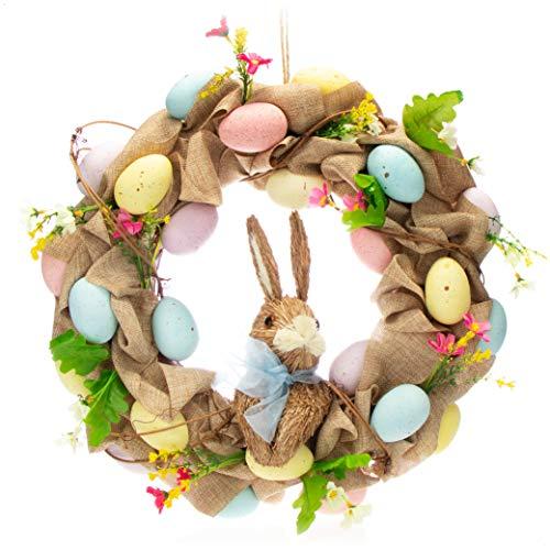 com-four® Corona de Pascua con Huevos y Conejo de Pascua - Corona Decorativa para la Puerta - Arco con Flores para Pascua, diámetro Approx. 44 cm