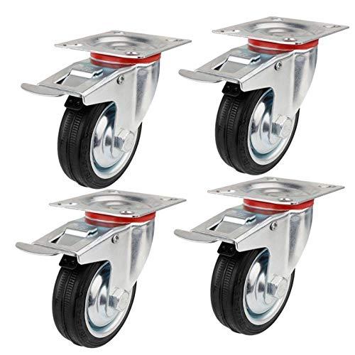 FMingNian Lenkrolle Möbelrollen Trolley Heavy Duty 160mm 210kg Möbel Trolley Rad Gummi Bremse Trolley Rad (Größe : 4pcs75mmbalck)