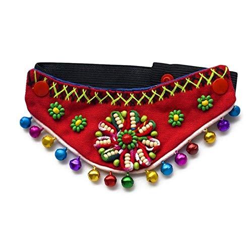 GOUSHENG comfortabele huisdier Bandanas nationale wind huisdier driehoek hals decoratie accessoires Turban hond kraag met bel kleurrijke bloem sjaal maken huisdieren, China, R