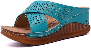 N / A Moeder Slippers, zomer halfhoge hak zachte zool middelbare leeftijd en oudere sandalen en Slippers, plus size damess...