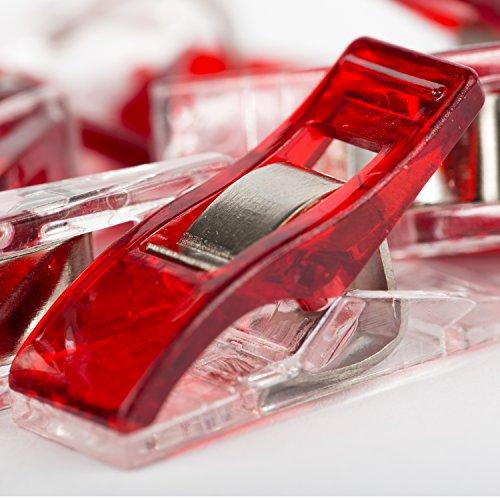 BIG-SAM - 10 klipsów Wonderclips - kolor czerwony - 25 x 10 mm - alternatywa dla szpilek