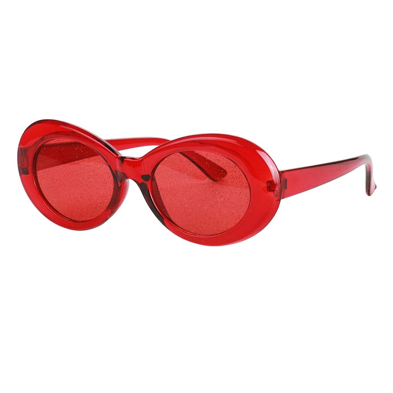 perfk レトロ サングラス メガネ 楕円形 レンズ フレーム 大人 古典的 透明感 目保護 衣装 装飾 多色