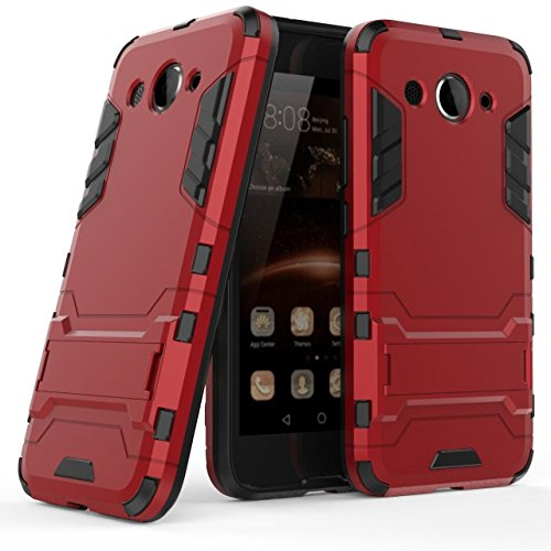 Huawei Y3 2017 Hülle, MHHQ Hybrid 2in1 TPU+PC Schutzhülle Rugged Armor Hülle Cover Dual Layer Bumper Backcover mit Ständer für Huawei Y3 2017 -Red