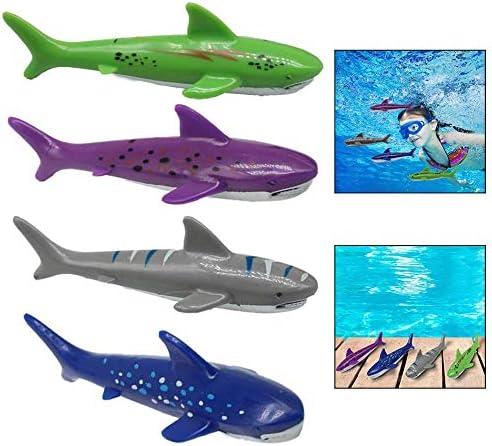 Xrten 4 Pcs Buceo Tiburón Torpedo de Juguete para Natación Piscina para Niños