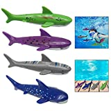 Xrten 4 Pezzi Torpedo del Giocattolo,Nuotare Diving Giochi Mare Bambini Giocattolo Acquatico Squalo