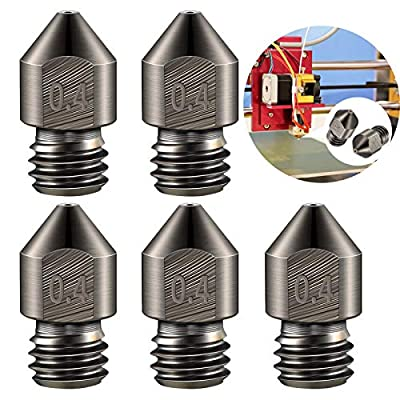 MK8 Hardened Steel Nozzle Kit,5PCS High Temperature Pointed Wear Resistant 3D Printer Stainless Nozzles 0.4mm/1.75mm Compatible with Makerbot,Creality CR-10 All Metal Hotend, Ender 3/3 pro Prusa i3
