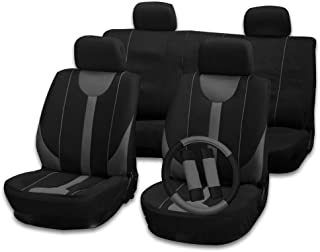 cciyu Seat Cover Universal Car Seat Cushion w/Headrest Covers/Steering Wheel Cover/Shoulder Pads - 100% Breathable Car Seat Cover Washable Auto Covers Replacement fit for Most Cars(Black/Gray)