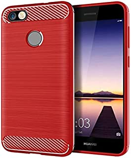 Silicone Case Compatible With Huawei Y6 Pro 2017 Mobile Shell For Huawei Y6 Pro 2017 Cover Brushed Carbon Fiber Silicone Anti-fall Soft Shell (Color : Red, Size : Huawei Y6 Pro 2017)