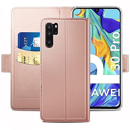 YATWIN Handyhülle für Huawei P30 Pro Hülle & Huawei P30 Pro New Edition Hülle Leder Premium Leder Flip Hülle Schutzhülle für Huawei P30 Pro Tasche, Rose Gold