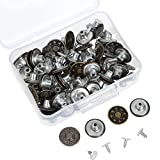 Hestya 40 Sets Jeans Buttons Metal Button Snap Buttons Replacement Kit with Rivets and Plastic Storage Box (Silver and Bronze)