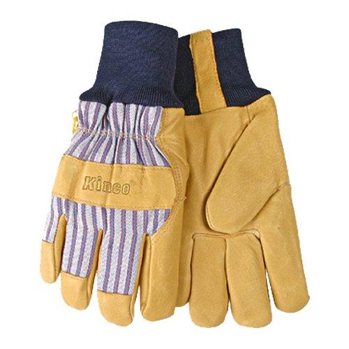 KINCO International 1927KW-XL Mens Lined Grain Pigskin Gloves, Heat Keep Lining, Knit Wrist, X-Large, Golden