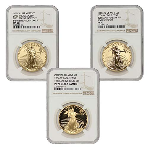 2006 W Set of 3 1 oz American Gold Eagles MS-70, PF-70, & PF-70 Ultra Cameo 20th Anniversary Brown Label by CoinFolio…