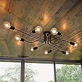Lingkai Industrial Ceiling Light Vintage Chandelier Metal Pendant Light Creative Retro 8-Light Chandelier Lighting Fixture