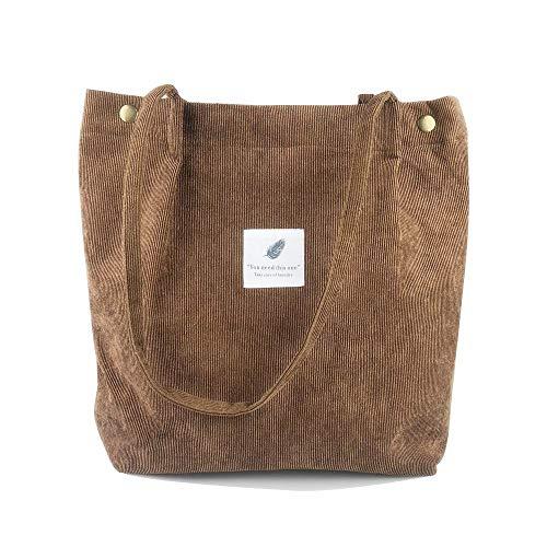 Borsa a Tracolla Donna, Shopping Tote Bag Borse Casual retrò, Borse a Spalla da Donna di Moda Borsa Shopping di Grande capacità (Marrone
