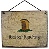 Egbert's Treasures 8x10 Vintage Style Sign (with Outhouse) Saying, Used Beer Depository Decorative Fun Universal Household Signs for The Bathroom