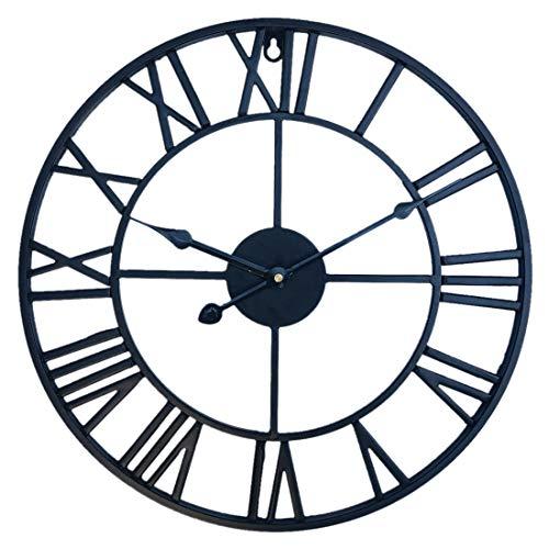 LDB SHOP 60cm Marco de Metal Reloj de Pared Grande XXL Vintage Reloj Gigante Pared Reloj de Pared Silencioso para Cocinas Dormitorios Oficinas Sala-Negro