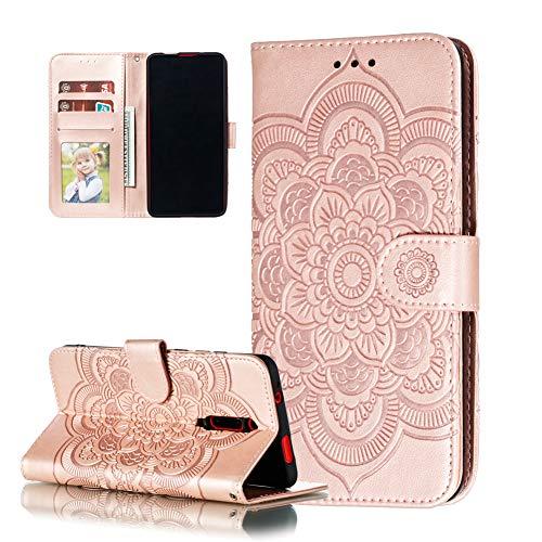 COTDINFOR Etui für Xiaomi Redmi 8A Hülle PU Leder Cover Schutzhülle Magnet Tasche Flip Handytasche im Bookstyle Stand Kartenfächer Lederhülle für Xiaomi Redmi 8A Rose Gold Mandala LD.