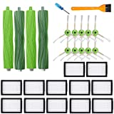 Replacement Parts Kit for iRobot Roomba i7 i7+/i7 Plus E5 E6 E7- Vacuum Cleaner Replenishment Filter Accessor,2 Set Multi-Surface Rubber Brushes & 12 High-Efficiency HEPA Filters & 10 Side Brushes