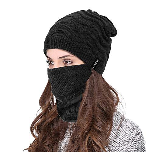 VBIGER Wintermütze Strickmütze Warme Beanie Winter Mütze und Schal mit Fleecefutter für Damen und Herren (Schwarz)
