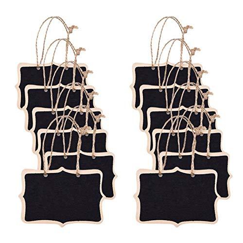 Fleymu Mini Pizarra Colgante de Madera Mensajes Pizarra Negra Pequeñas Carteles Mensajes Pizarras Bodas Pizarra para Etiqueta de Alimentos, Números de Mesa y Bodas Decoración de Evento (12 Pedazo)