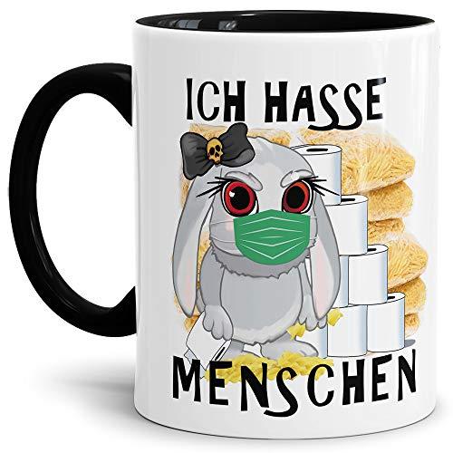 Tassendruck Anti-Hamster-Tasse mit Spruch Böses Hasi - Ich Hasse Menschen - Hamsterkäufe/Kaffee-Tasse/Virus 2020 / Geschenk-Idee/Ostern - Innen & Henkel Schwarz