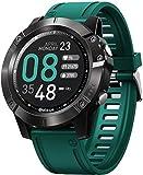 Reloj inteligente con reproductor de música para recibir/hacer llamadas, frecuencia cardíaca, 25 días, vida útil, reloj deportivo (color: gris) y verde