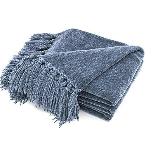 RECYCO Manta con flecos, 127 x 152 cm, manta de punto de chenilla, manta para sofá, manta suave para cama, sofá, silla (azul marino)