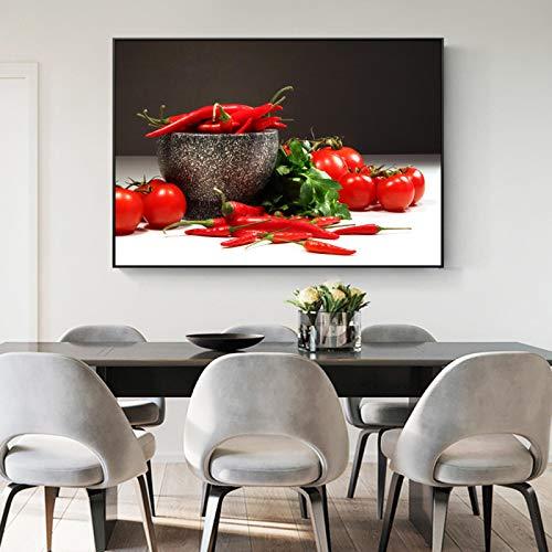 ZMFBHFBH Cuadros modulares Tomates y pimientos Arte de la Pared Impresiones en Lienzo Carteles e Impresiones de Pared de Cocina realistas para decoración de Cocina 40x50cm con Marco