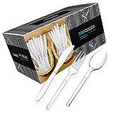 Zeppoli 380-Piece Clear Plastic Silverware Set – 190 Plastic Forks, 125 Plastic Spoons, 65 Plastic Knives – Plastic Cutlery Utensil Set – Disposable Forks, Clear Plastic Spoons – Chinet Utensils