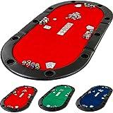 Maxstore Pad Pliable Deluxe de Poker avec Sac, L 208 x P 106 x H 3 cm, Choix DE Couleur :. Vert, Bleu, Rouge, Panneau MDF Massif, accoudoir rembourré, Dont 10 Porte-gobelets, Pliage, Table de Poker.