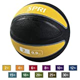 SPRI Xerball Medicine Ball Thick Walled Durable Construction with Textured Surface, Yellow, 2-Pound