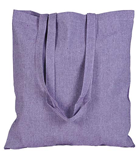 ECOFACTORYDIRECT 12 Pack LAVENDER Color Recycled Cotton Bag 15' X 16' with 27 inch handle reusable grocery bags 5.5 oz canvas eco friendly super strong washable (LAVENDER, 12)