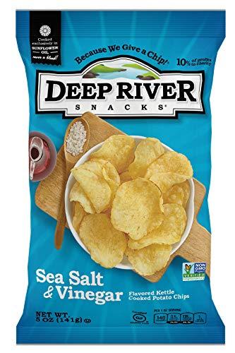 Deep River Snacks Sea Salt & Vinegar Kettle Cooked Potato Chips, 5 Ounce (Pack of 12) $9.73