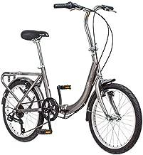 Schwinn Loop Adult Folding Bike, 20-inch Wheels, 7-Speed Drivetrain, Rear Carry Rack, Carrying Bag, Silver