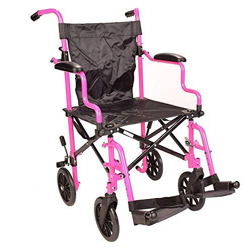 Roze ultralichte inklapbare compacte aluminium rolstoel