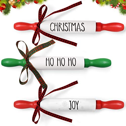 Huray Rayho Christmas Mini Rolling Pins Xmas Holiday Wooden Tiered Tray Decor Rustic Farmhouse Buffalo Plaid Home Kitchen Baking Decor Festive Gift Ideas Supplies Set of 3