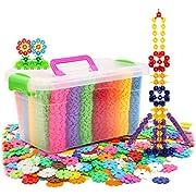 MEGA Pädagogisches BAU Konstruktionsspielzeug Lernspielzeug Puzzle - 500pcs Schneeflocken Bausteine Steckbausteine Steckblumen Spielzeug für Baby Kleinkind ab 3 Jahre