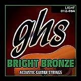 GHS Strings BB30L Bright Bronze, 80/20 Copper-Zinc Alloy, Acoustic Guitar Strings, Light (.012-.054)
