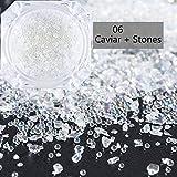 Uñas Postizas Puntas De Uñas 2 Caja 3D Caviar Vidrio Roto Nail Art Micro Rhinestones Glitter Irregular Crystal Shiny Stones Mini Beads Manicure Decor-06