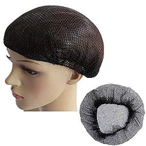 Takestop® - Juego de 2 redes elásticas negras de 21 cm de diámetro para la cocina, para llevar debajo de la peluca, gorro transpirable para mujer