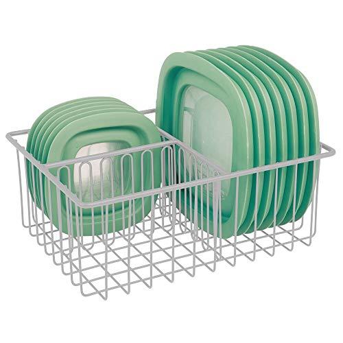 mDesign Organizador de tapaderas – Práctica cesta de almacenaje con 3 compartimentos para ordenar tapas – Moderna cesta metálica para organizar la despensa – gris claro
