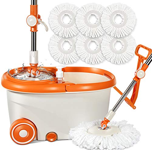 bucket with bonus mops Microfiber Spin Mop and Bucket with Wringer Set with 7Pcs Mop Refills 6L Stainless Steel Mop Bucket System on Wheels for Home Kitchen Floor Cleaning